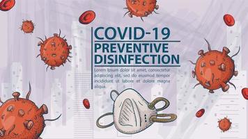 desenho de banner para prevenção de coronavírus covídeo vetor