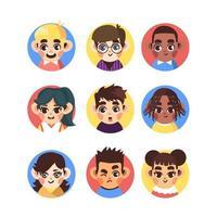 ícone educacional de crianças coloridas e fofas vetor