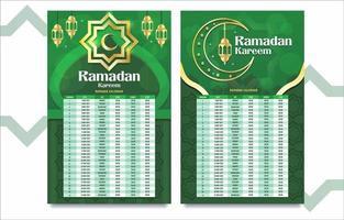 calendário ramadan verde e dourado vetor