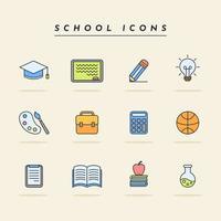 pacote de ícones escolares simples e fofos vetor
