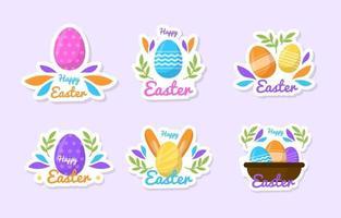 coleção plana colorida de adesivos da festa da páscoa vetor