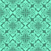 padrão decorativo de vetor sem emenda de elementos florais de cor aqua menthe na forma de um losango sobre um fundo turquesa.