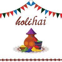 feliz festival indiano de holi com texto em hindi digitando com pote de lama colorido vetor