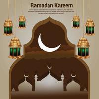 fundo do festival islâmico ramadan kareem com lanterna árabe vetor