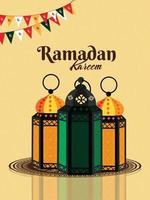 vetor realista de ramadan kareem e plano de fundo