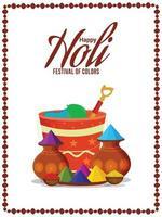 cartão feliz holi e pôster com panela de lama colorida vetor