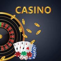 Banner de convite VIP de luxo de cassino com cartas de jogar, fichas de cassino e moeda de ouro vetor