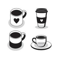 ícone de xícara de café quente no fundo branco vetor