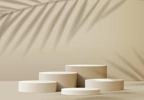 Os produtos de fundo 3D exibem a cena do pódio com uma plataforma geométrica de folha de palmeira. fundo do vetor 3d render com pódio. estande para mostrar produtos cosméticos. vitrine de palco no pedestal display biege studio
