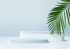 Os produtos de fundo 3D exibem a cena do pódio com a plataforma geométrica de folhas verdes. fundo do vetor 3d render com pódio. estande para mostrar produtos cosméticos. vitrine de palco em estúdio de exibição de pedestal azul
