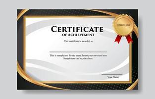 modelo de design de certificado ouro preto vetor