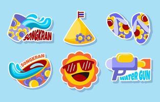 design plano para conjunto de adesivos do festival songkran vetor