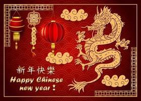 vermelho e dourado, ano novo chinês, desenho de dragão asiático esculpido vetor