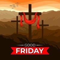 ilustração de boa sexta-feira com cruzes vetor