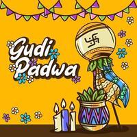 ilustração de gudi padwa desenhada à mão vetor