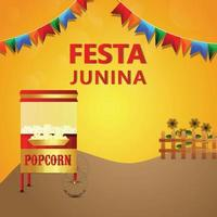 cartão convite festa junina brasil com ilustração criativa
