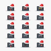 laptop usando conjunto de emoticons de chapéu de natal vetor