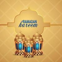 Ramadan Kareem ou Eid Mubarak de fundo com lanterna árabe vetor