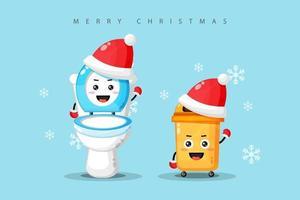 Mascote fofo de vaso sanitário e lixeira comemorando o dia de natal vetor