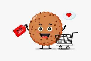Mascote de biscoito de chocolate fofo com desconto na sexta feira vetor
