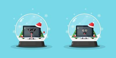mascote de laptop fofo em um globo de neve vetor