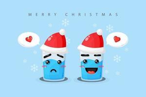 água mineral fofa com expressão triste e feliz com um chapéu de natal vetor