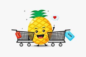O mascote do abacaxi está comprando na sexta-feira negra vetor