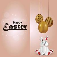 cartão de convite de feliz dia de Páscoa com ovo dourado e coelhinho da Páscoa vetor