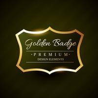 design de rótulo premium de distintivo dourado de vetor