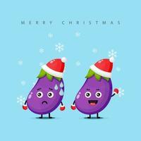 A mascote fofa da berinjela vestida com uma fantasia de natal e com expressões de alegria e tristeza vetor