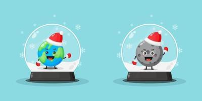 Mascote fofo da terra e da lua dentro de um globo de neve vetor