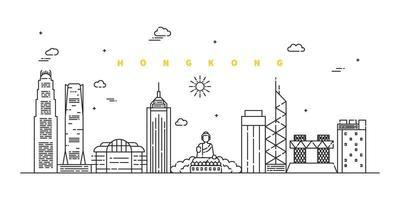 cidade de hong kong. vetor de paisagem moderna linha plana. ilustração da arte linha da cidade com edifício, torre, arranha-céus. ilustração vetorial.