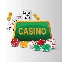 jogo de cassino online com dados criativos e fichas de pôquer em fundo branco vetor