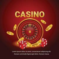 jogo de azar de cassino com roleta, moeda de ouro e dados vetor
