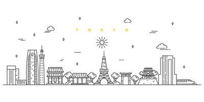 cidade de Tóquio. vetor de paisagem moderna linha plana. ilustração da arte linha da cidade com edifício, torre, arranha-céus. ilustração vetorial.