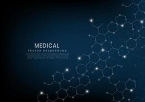 padrão de linhas de hexágono abstrato em fundo azul escuro. medicina e ciência, conceito de dna de molécula de estrutura. vetor