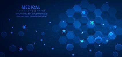 fundo abstrato do teste padrão do hexágono azul escuro. medicina e ciência, conceito de conexão de tecnologia. vetor