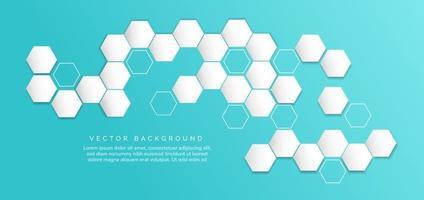 hexágono branco abstrato e linhas hexagonais sobre fundo azul com espaço para texto. vetor