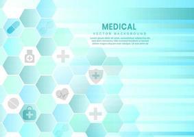 abstrato azul hexágono de fundo. conceito médico e científico e padrão de ícone de cuidados de saúde. vetor