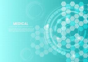abstrato azul hexágono padrão background.medical tecnologia e conceito de ciência e padrão de ícone de cuidados de saúde. vetor