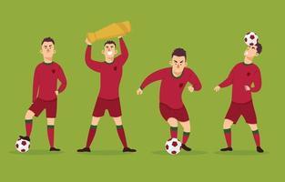 coleção de personagens de jogadores de futebol vetor
