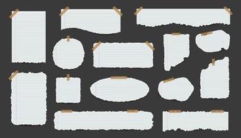 coleção de folhas de papel rasgado branco vetor