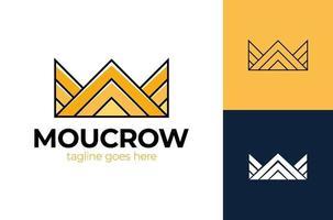 letra m coroa logotipo rei vetor ícone real. design luxuoso do símbolo do logotipo da rainha.
