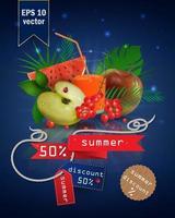 ilustração de liquidação de verão com frutas e suco vetor