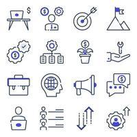 pacote de ícones planos de escritório e negócios vetor