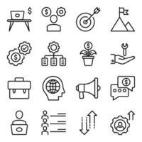 pacote de ícones lineares de escritório e negócios vetor