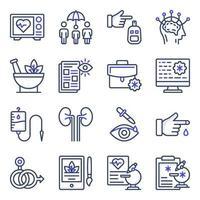 pacote de ícones planos de saúde vetor