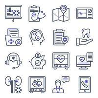pacote de ícones planos médicos e de saúde vetor