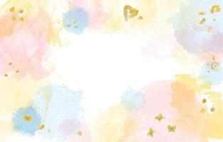 fundo aquarela colorido com detalhes em ouro vetor