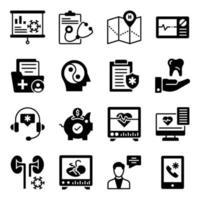 pacote de ícones sólidos de medicina e saúde vetor